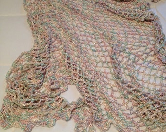 Crocheted triangular silky shawl