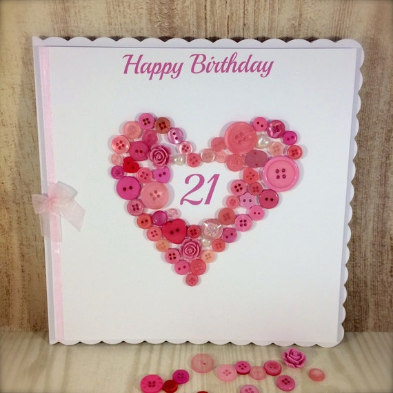 Large Scalloped Edge Button Heart Age Card