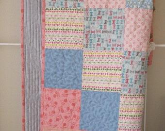 Modern baby girl quilt