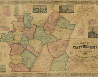 24x36 Poster; Map Of Fayette Co., Pennsylvania 1858 P2
