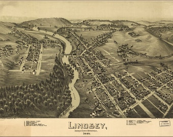 24x36 Poster; Map Of Lindsey, Pennsylvania 1895