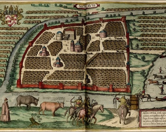 24x36 Poster; Map Of Moscow Russia 1612