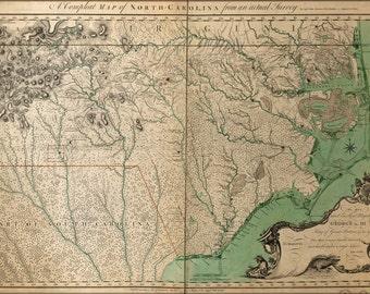 24x36 Poster; Map Of North Carolina 1770 P1