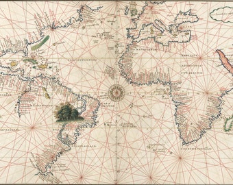24x36 Poster; Map Of Atlantic Ocean And America 1544