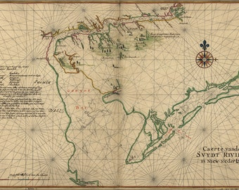 24x36 Poster; Map Of Delaware Bay And River New Jersey 1639