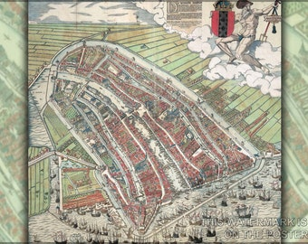 24x36 Poster; Amsterdam As Of 1544 Netherlands Holland