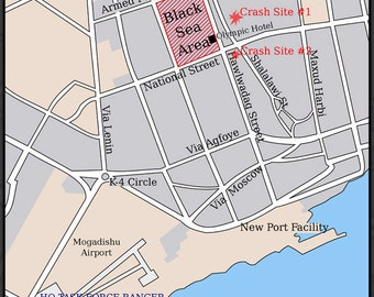 24x36 Poster; Battle Of Mogadishu Map Of City Black Hawk Down