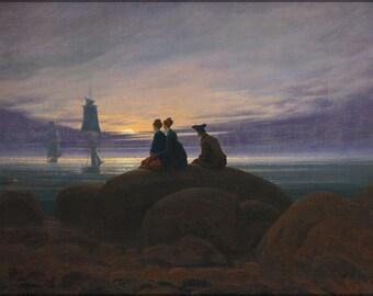 24x36 Poster; Moonrise Over The Sea By Caspar David Friedrich