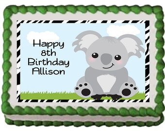 Cute Koala Bear Edible Birthday Baby Shower Party Cake Cupcake Toppers Choose From 10 Frosting Sheet Sizes Custom Personalized