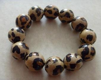 Animal Print Beaded Bracelet Decoupaged Beads on Stretch Cord