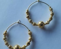 "Gold Filigree Hoop Earrings 24K Goldplated Surgical Steel Gold Seed Beads 1 1/4"" Gold Hoop Earrings"