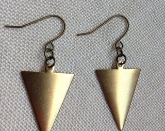 Small Raw Brass Dapped Triangle Earring