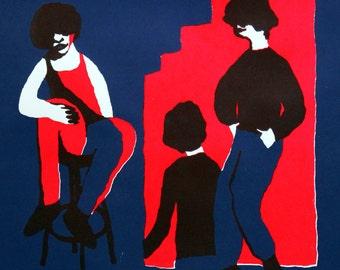 Original handmade screenprint modern art bright colors blue and red (48 x 32 cm) - 'Club I'
