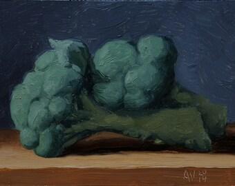 Broccoli painting, original oil painting still life by Aleksey Vaynshteyn