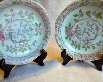 Vintage Calyx Ware Saucers Singapore Bird Old Backstamp Replacement Saucers Floral Aqua Pink