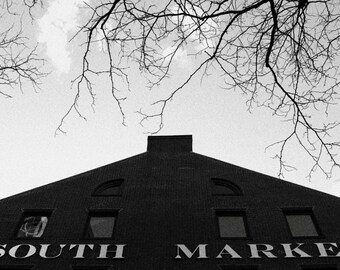 City Photography, Black and White, Boston, South Market, Wall Art, White, Black, Design, Home Decor, Office Decor, Wall Art, Silhouette