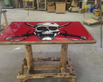 Pirate Themed 3 x 5 Bar Table - One of a Kind Tiki Kev Original