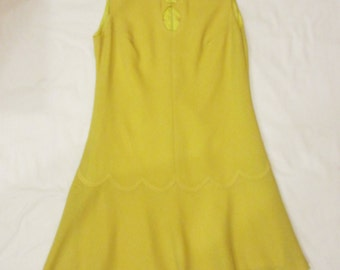 1960's Vintage Canary Yellow Mod Mad Men Sleeveless A-line Dress