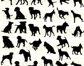 32 Dog Silhouette  Clipart,  32 PNG, 32 JPG, Commercial License, Instant download,