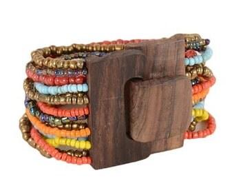Wood Buckle Seed Bead Bracelet