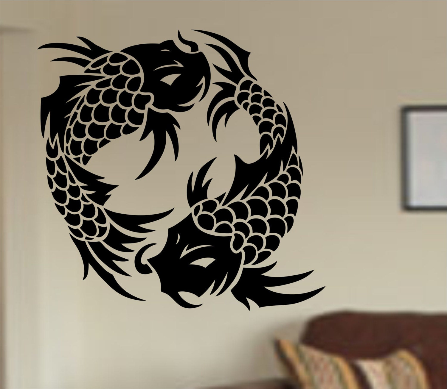 Koi fish wall decal sticker art decor bedroom design mural for Koi home decor