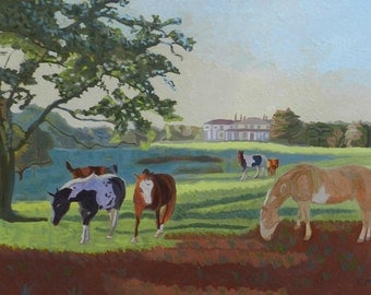 Grazing at The Manor House - Landscape, Oil, Horses