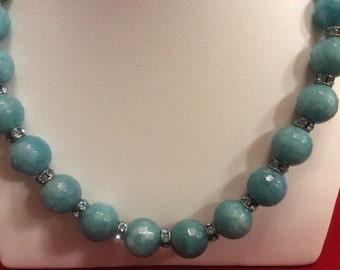 """Aqua blue beads 18"""" necklace"""