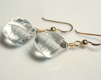 CRYSTAL QUARTZ faceted gem stone twisted teardrop briolette 14k gold filled earrings