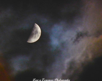 First Quarter Moon in the clouds (Landscape, Nature, Moon, Fine Art Photography)