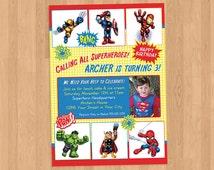 Superhero Squad Birthday Party Invitation Printable