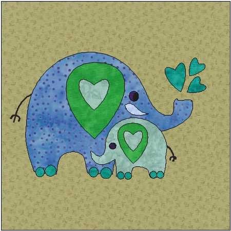 Elephant Pattern Jungle Quilt Block Quilt Appliqu 233