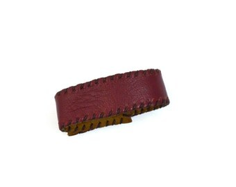 Malbec Leather Hand-stitched Cuff