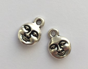 2 Silver Moon Face Charm, Pewter, package of 2