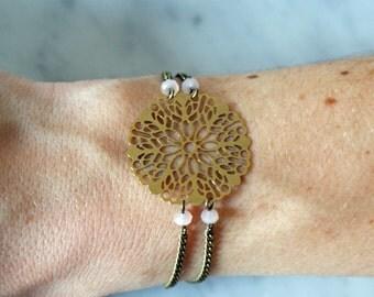 "Bracelet with rose gold, crystal glass & brass ""Chin"" Pemberley jewelry / Bracelet women / gem / Pearl Bracelet / Bohemian jewelry"