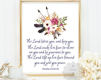 The Lord Bless you and keep you Numbers 6:24 - 26 Bible verse Scripture print Christian quote nursery wall art flowers positive art quote