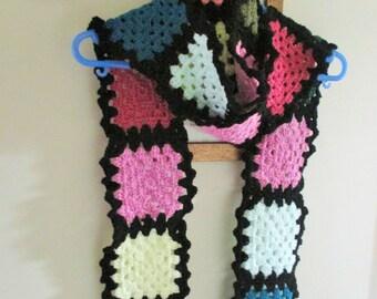 Crochet odd ball granny square scarf
