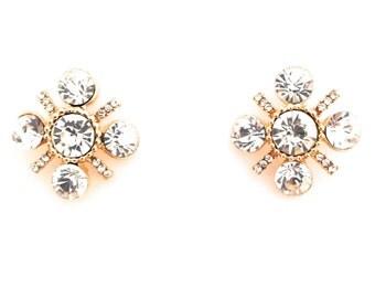 Clear Crystal Rhinestone Statement Stud Earrings 2cm by 2cm Free Shipping