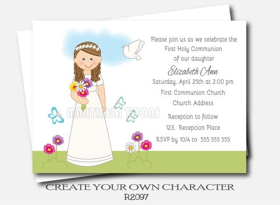 Personalized Girl Communion Invites First Holy Communion Invitation