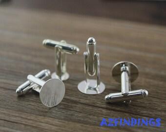 Cufflink Blanks-Silver Cufflinks-Blank Cuff Links-10mm round flat cufflink Blank-Cufflink finding-Glue Cufflink findings