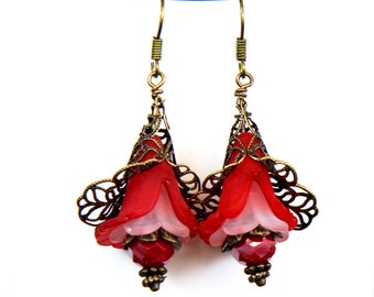 Bronze filigree, red Lucite & crystal earrings