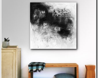 ART- Original Black&White Abstract Painting Contemporary Textured  Acrylic Painting on Canvas by Heuchlow FREE SHIPPING