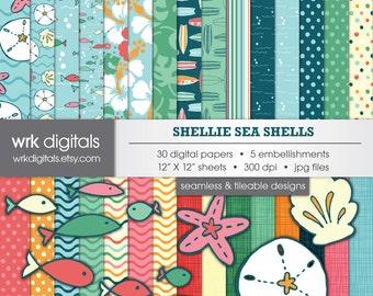 Shellie Sea Shells Seamless Digital Paper Pack, Digital Scrapbooking, Beach, Shells, Surfboard, Fish, Waves