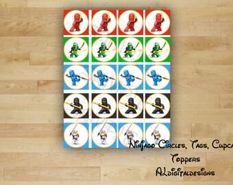 Ninjago Tags, Ninjago Circles, Ninjago Cupcake Toppers, Instant Download, Ninjago