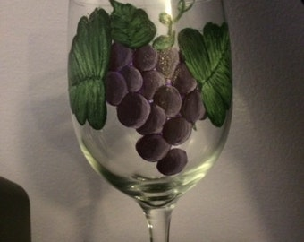 Hand Painted Grape Wine Glasses