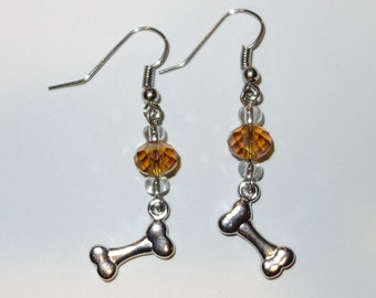 Earrings, Give A Dog A Bone! Glass Beads