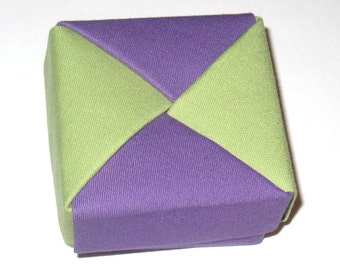 Handmade Origami Gift Box in Green and Purple - Pea Green and Purple Modular Square Fabric Origami Box