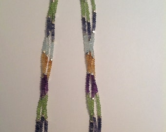 """Handmade 16 1/2"""" 3 Strand Mixed Semi Precious Stone Necklace W/ Sterling Silver Findings"""