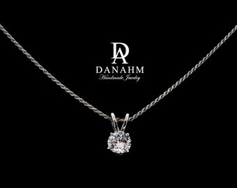 Sterling Silver | Round Desert Diamond Necklace - White Gold Plated