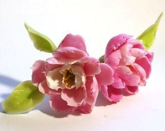 Pink Peony Hair Pin, Hairpin, Flower Pin