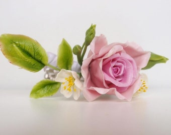 Pink Flower Rose Hair Clip